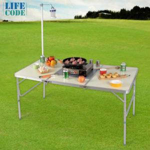 【LIFECODE】BBQ鋁合金折疊燒烤桌(附燈架) 13310110