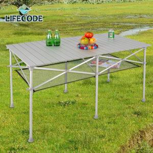 【LIFECODE】長型鋁合金蛋捲桌/折疊桌124x70cm (附桌下網+提袋) 13310071