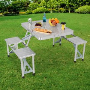 【LIFECODE】行動派-鋁合金折疊桌椅-烤肉.野餐桌/仲介洽談桌/休閒桌椅 13320010