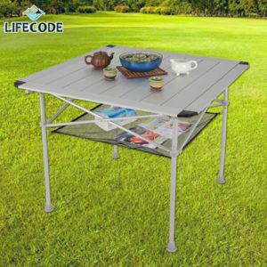 【LIFECODE】鋁合金加大蛋捲桌80x80cm(附桌下網+提袋)13310061
