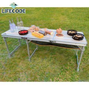 【LIFECODE】橡木紋鋁合金折疊桌/野餐桌180x60cm-送桌下網(三段高度) 13310123